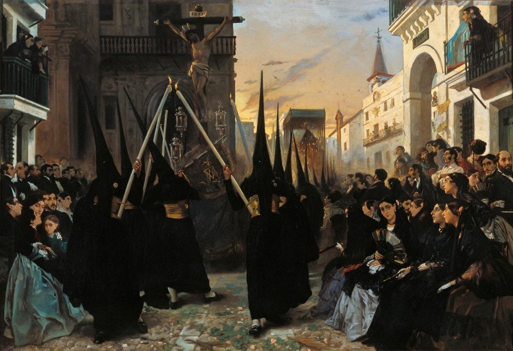 Alfred Dehodencq. Una cofradía pasando por la calle Génova, Sevilla. 1851. Colección Carmen Thyssen-Bornemisza. Málaga.