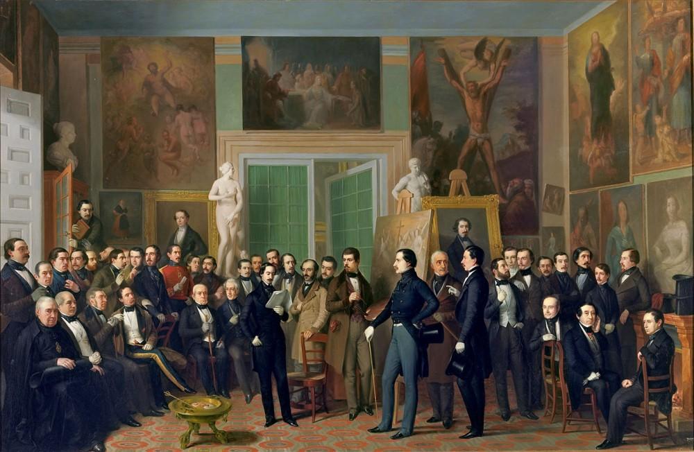 Antonio María Esquivel. Los poetas contemporáneos. Una lectura de Zorrilla en el estudio del pintor. 1846. Museo Nacional del Prado.
