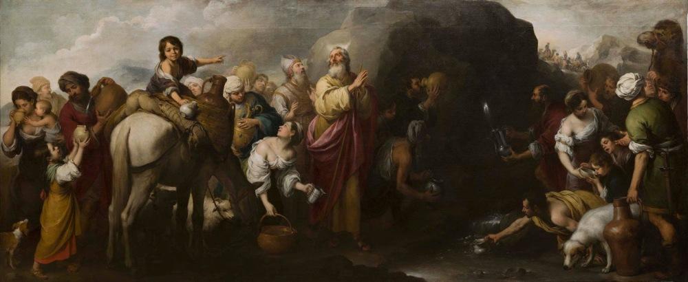 Bartolomé Esteban Murillo. Moisés haciendo brotar el agua de la roca de Horeb.1667-1670. Hospital de la Caridad. Sevilla.