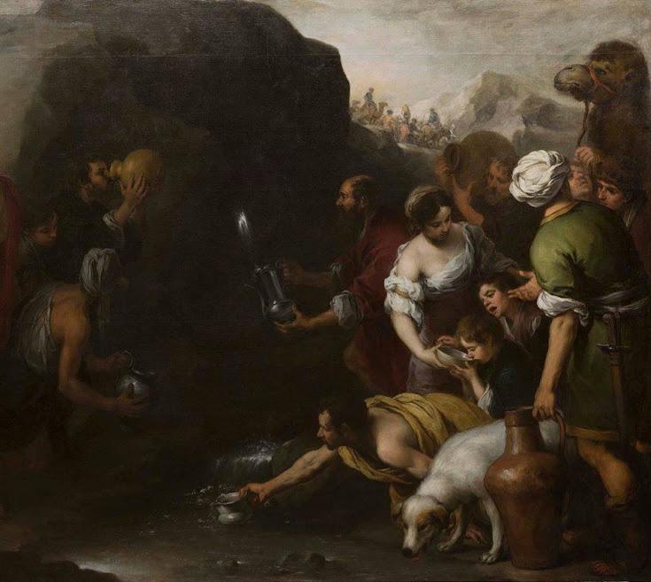 Bartolomé Esteban Murillo. Moisés haciendo brotar el agua de la roca de Horeb. Detalle.1667-1670. Hospital de la Caridad. Sevilla