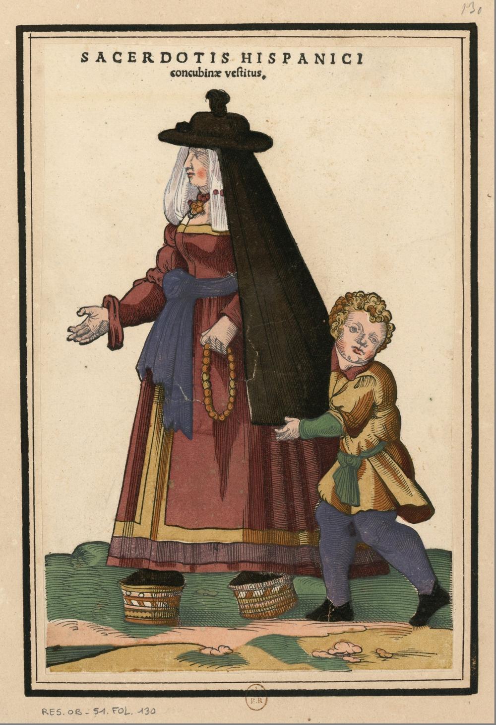 Roger de Gaignières. Ensemble de gravures de costumes espagnols du XVIe siècle. 1660.