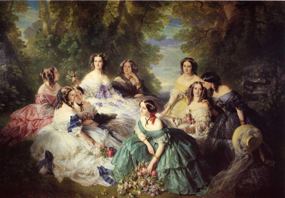 Franz Xaver Winterhalter. La emperatriz Eugenia rodeada por sus damas de honor. 1855. Museo del Segundo Imperio Palacio de Compiègne.
