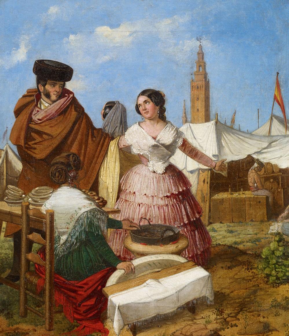 Rafael Benjumea. Galanteo en un puesto de rosquillas de la Feria de Sevilla. 1852.  Museo Carmen Thyssen. Málaga.