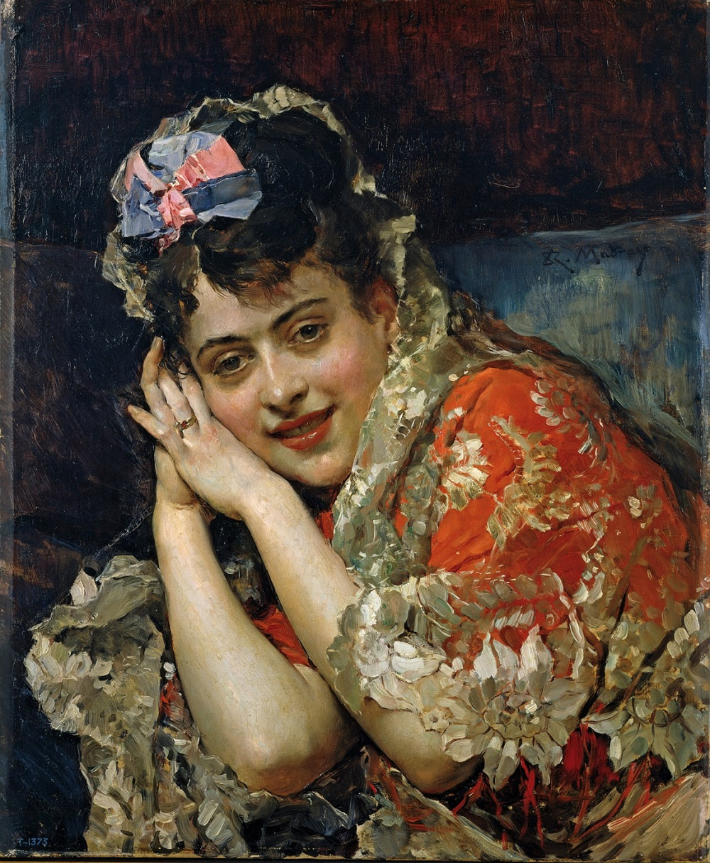 Raimundo de Madrazo. Aline Masson, con mantilla blanca. Hacia 1875. Museo Nacional del Prado.