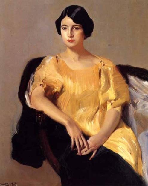 Joaquín Sorolla. Elena vestida con túnica amarilla. 1909. Colección particular.