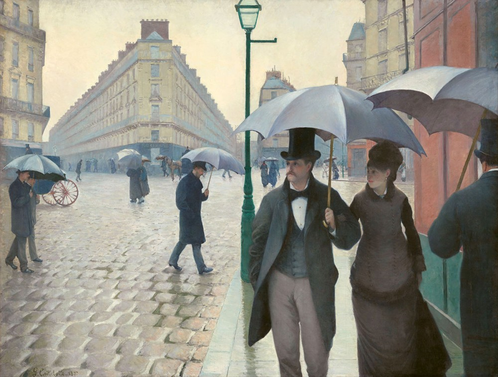 Gustave Caillebotte. Calle de Paris un día de lluvia. 1877 . The Art Institute of Chicago.
