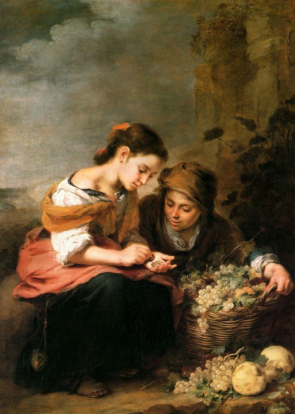 Bartolomé Esteban Murillo. La vendedora de fruta. Hacia 1670-1675. Alte Pinakothek. Munich.
