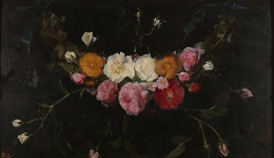 Daniel Seghers. Guirnalda de rosas. Siglo XVII. Museo Nacional del Prado. Madrid.