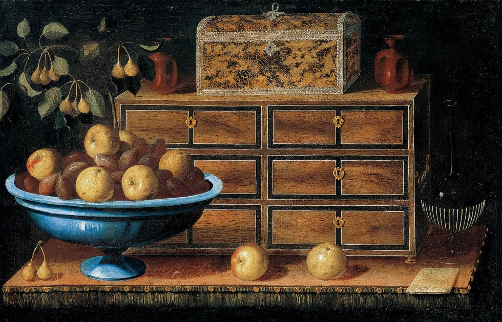 Pedro de Camprobín. Mesa de escritorio con tazón de fruta. 1635. Fundación Banco de Santander.