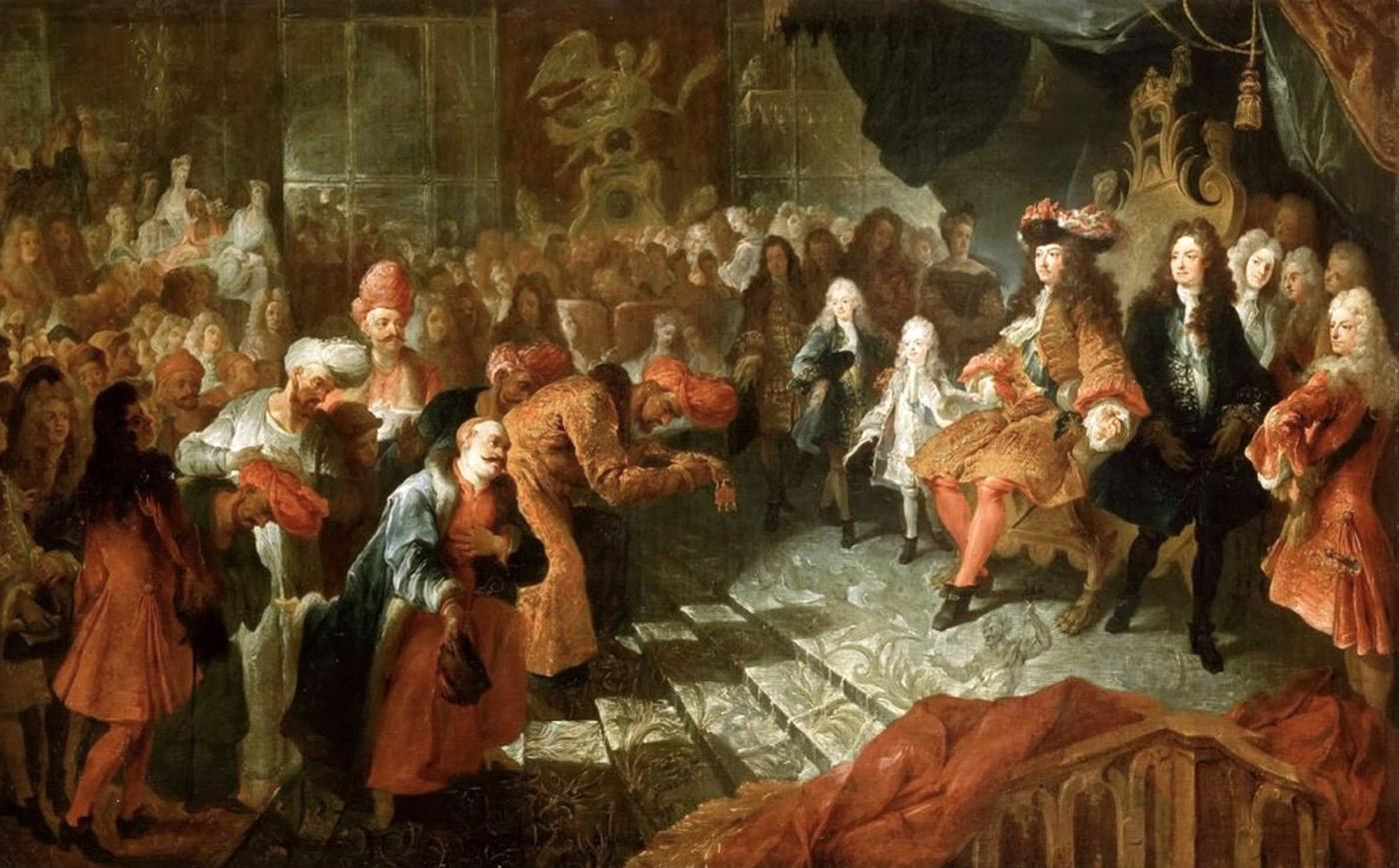 Charles Antoine Coypel. Luis XIV recibiendo al embajador persa Reza Beg en la galeria de los espejos de Versalles. 1715. Palacio de Versalles. Versalles.