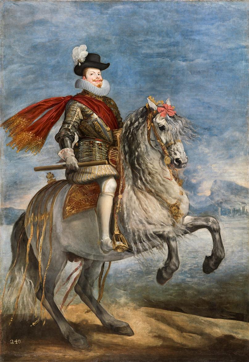 Diego Velázquez. Felipe III, a caballo. Hacia 1635. Museo Nacional del Prado. El rey luce la peregrina en su sombrero.