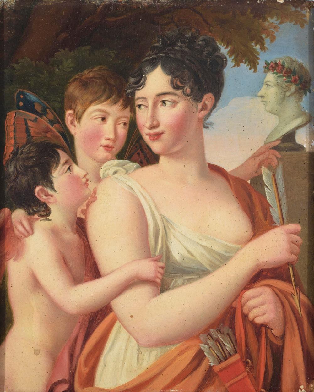 José de Madrazo. Josefa Tudó, I Condesa de Castillo Fiel, con sus hijos Manuel y Luis Godoy, junto a un busto de Manuel Godoy.
