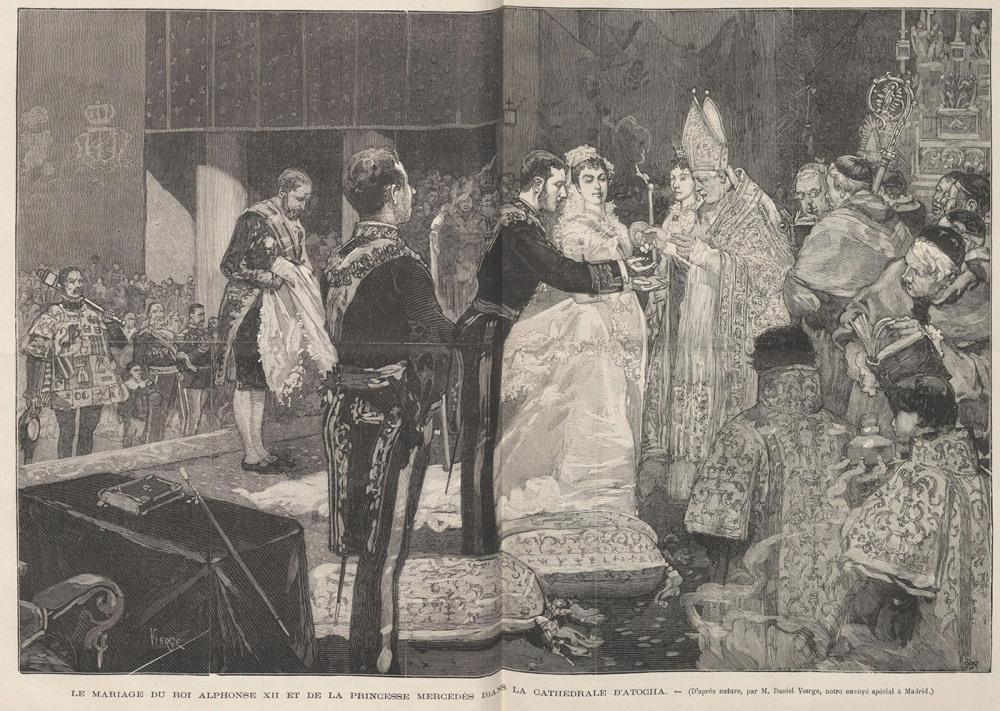 Daniel Vierge. Boda del rey Alfonso XII y de la princesa Mercedes en la catedral de Atocha. 1878.