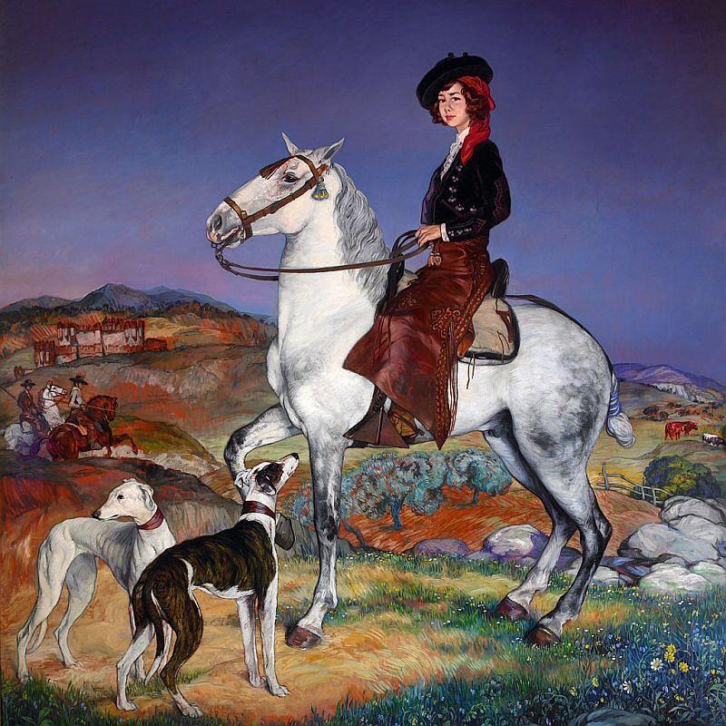 Ignacio Zuloaga. Retrato ecuestre de doña Mª del Rosario Cayetana Fitz-James Stuart y Silva, XVIII duquesa de Alba. Palacio de las Dueñas. Sevilla.