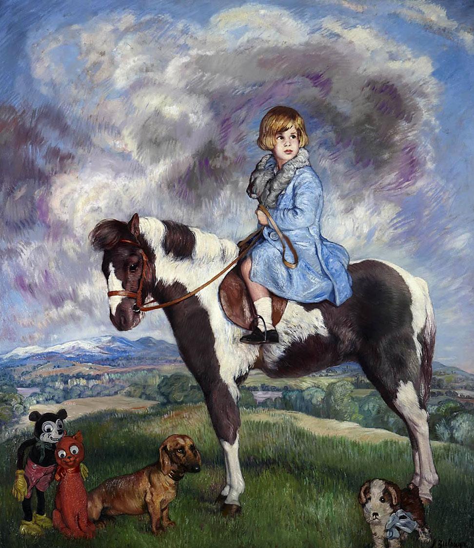 Ignacio Zuloaga. Retrato ecuestre de doña Mª del Rosario Cayetana Fitz-James Stuart y Silva, XVIII duquesa de Alba. Palacio de Liria. Madrid.