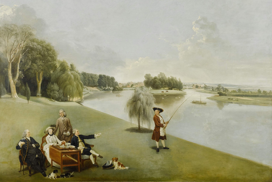 Johann Zoffany. El señor y la señora Garrick tomando el té en el jardín de Hampton House. 1762. Colección particular.