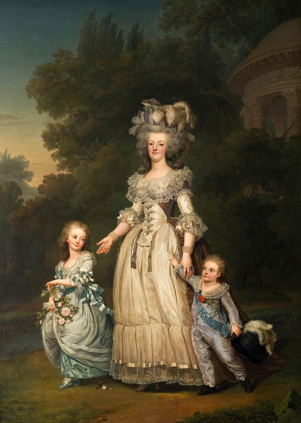 Adolf Ulrik Wertmüller. La reina María Antonieta de Francia y dos de sus hijos paseando por el Parque de Trianon. 1785. Museo Nacional de Bellas Artes de Estocolmo.