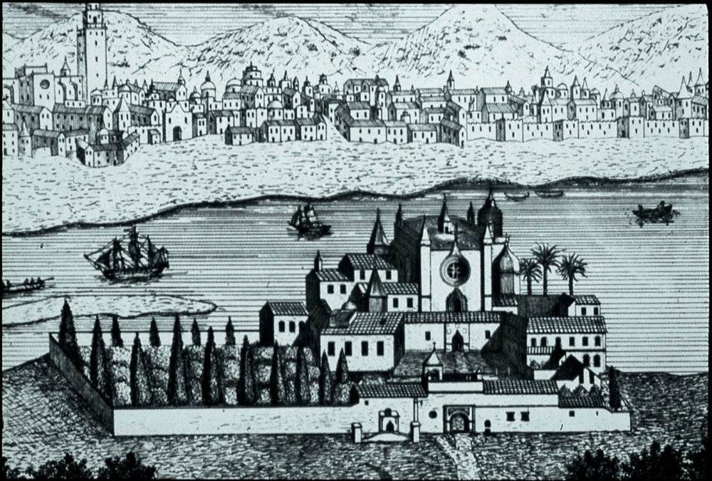 El monasterio en sus inicios, previo a la construcción hacia la mitad del siglo XVIII de la monumental Puerta de Tierra de Ambrosio de Figueroa.