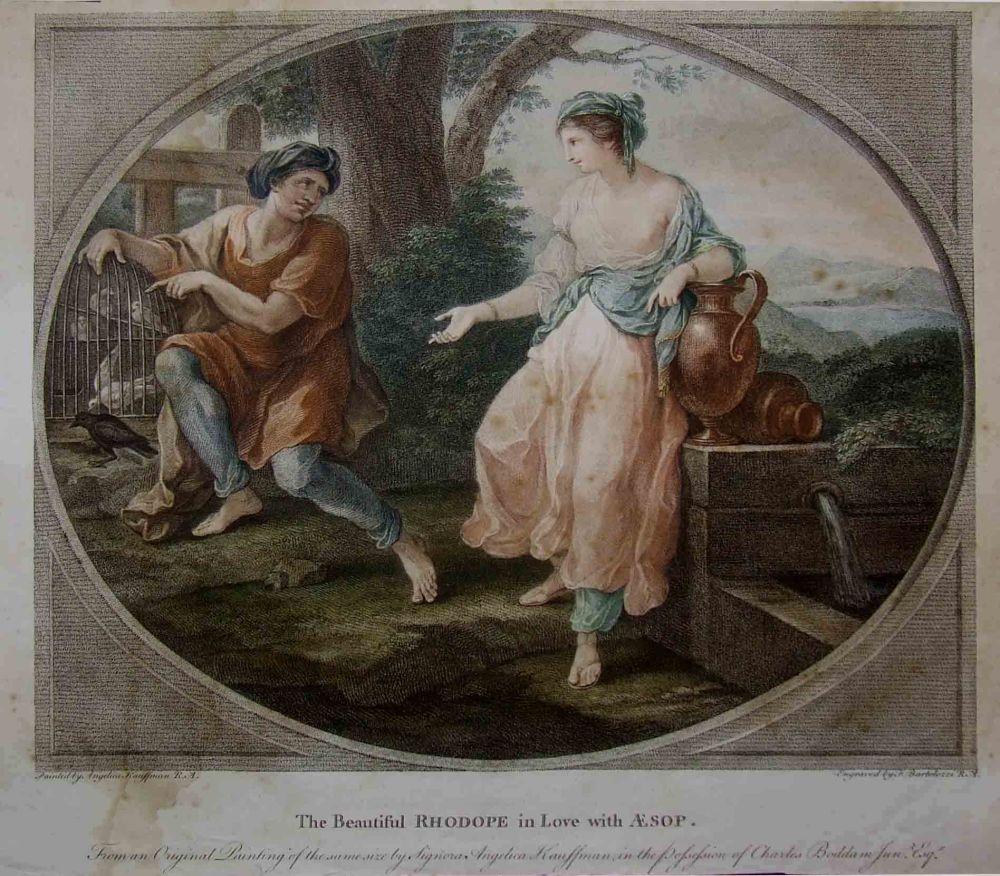 Grabado de Francesco Bartolozzi sobre pintura de Angelica Kauffmann. 1790.  La hermosa Rhodope enamorada de Esopo. Colección particular. San Petersburgo.