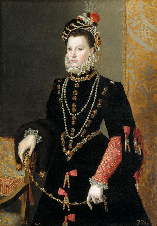 Juan Pantoja de la Cruz La reina Isabel de Valois, tercera mujer de Felipe II. 1605. Museo Nacional del Prado. Madrid.