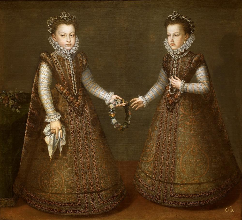Alonso Sánchez Coello. Las infantas Isabel Clara Eugenia y Catalina Micaela. Hacia 1575. Museo Nacional del Prado. Madrid.