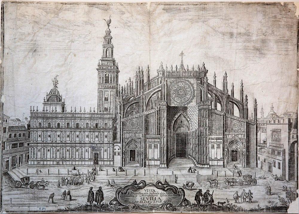 Pedro Tortolero. Vista histórica de la fachada occidental de la catedral. 1738.