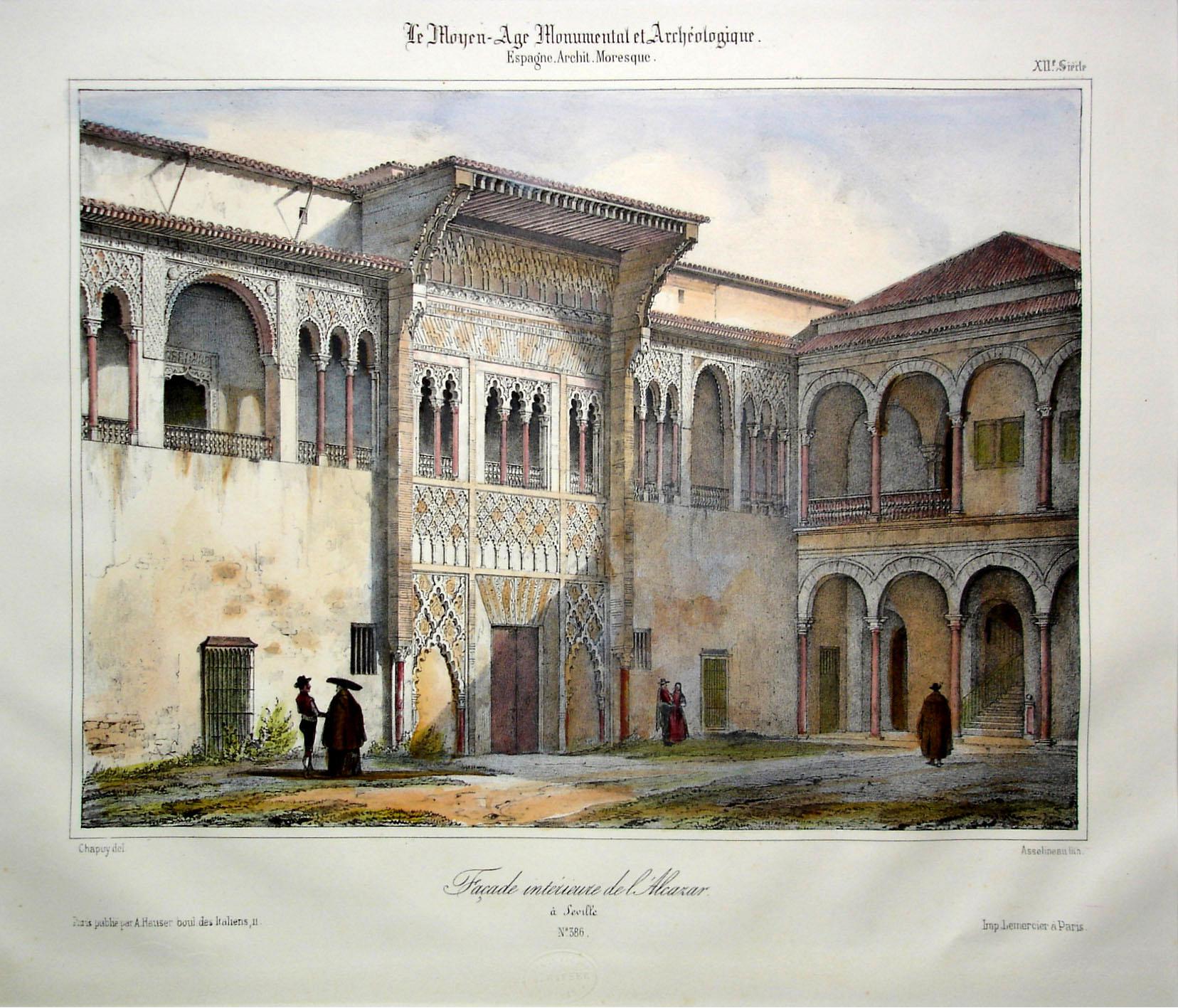 Chapuy. Fachada principal del palacio de Pedro I. Real Alcázar. 1844. Colección Laurence Shand.Sevilla