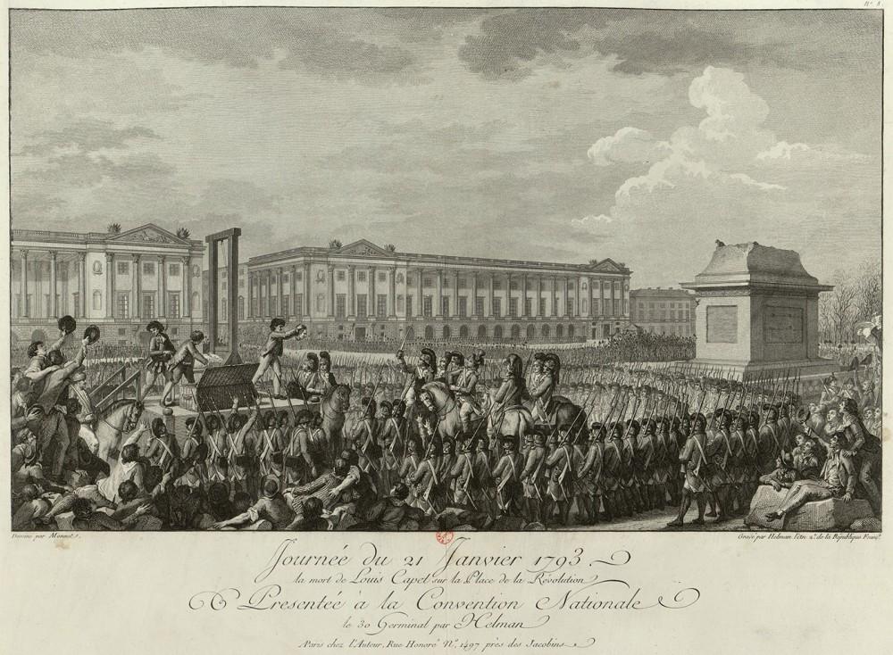 Isidore Stanislas Helman. Ejecución de Luis XVI. 1794. Biblioteca Nacional de Francia.
