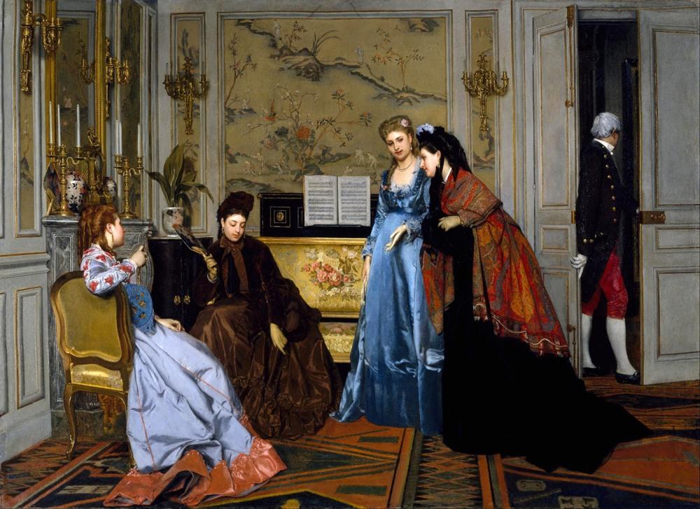 Atribuido a Alfred Stevens. Figuras elegantes en el salón. 1840-1906. Museum of Fine Arts. Houston.