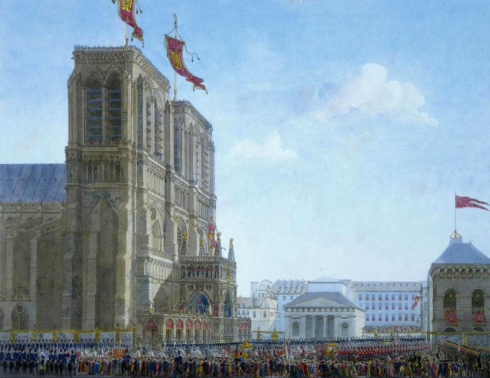 Charles Percier y Pierre Françoise Léonard Fontaine. Llegada de Napoleón a Notre-Dame para su coronación. 1804.