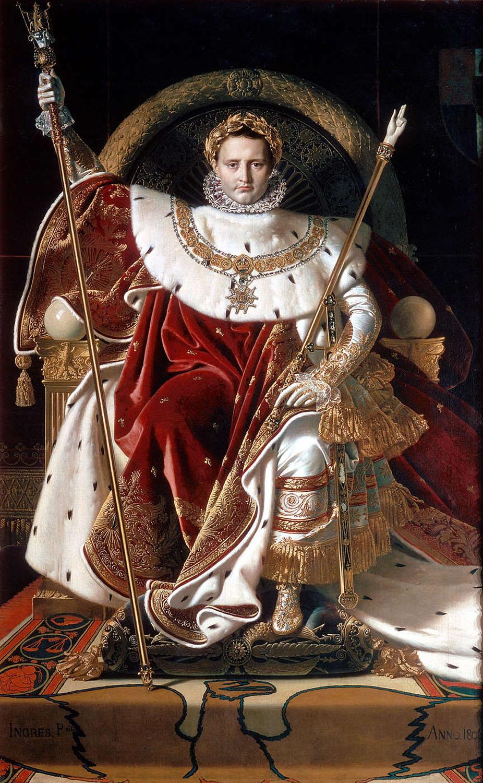 Jean Auguste Dominique Ingres. Napoleón en su trono imperial. 1806. Musseo de la Armada, París.