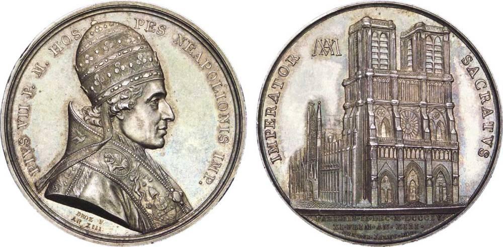 Moneda conmemorativa de la coronación de Napoleón por Pío VII.