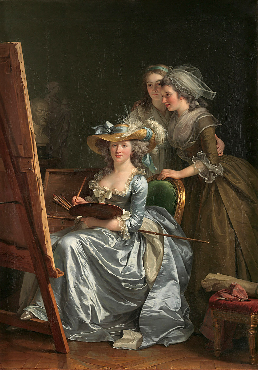 Adélaïde Labille-Guiard. Autorretrato con dos alumnas.Marie-Gabrielle Capet and Marie-Marguerite Carreaux de Rosemond. 1785. Metropolitan Museum. Nueva York.