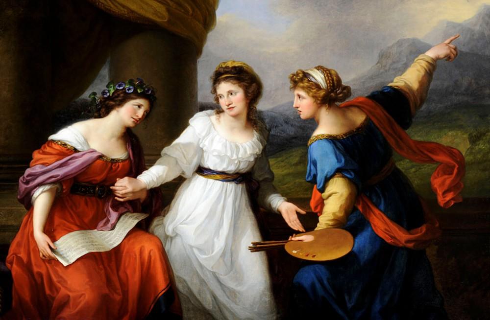 Angelica Kauffman. Autorretrato de la artista dudando entre las artes de la música y la pintura. 1794. Nostell Priory. West Yorkshire. Reino Unido.
