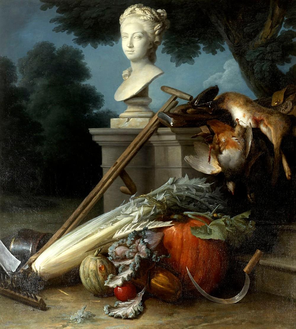 Anne Vallayer-Coster. Los atributos de la caza y la jardinería.1774. Basildon Park. Berkshire. Reino Unido.