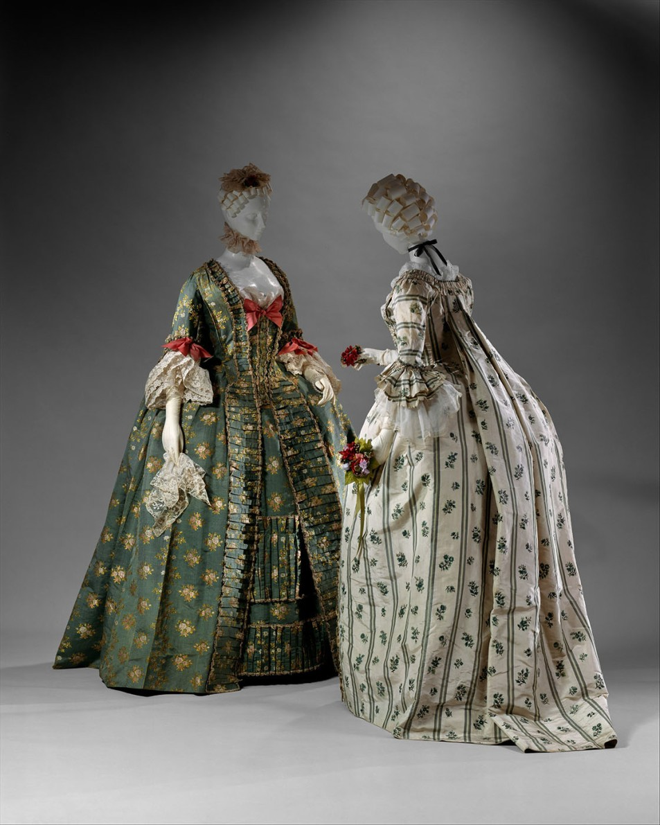"""Vestidos """"a la francesa"""". Hacia 1770-1775. Metropolitan Museum. Nueva York."""