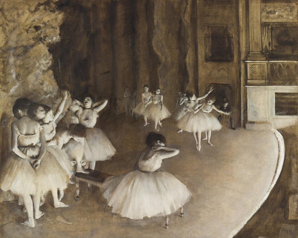 Edgar Degas. Ensayo de ballet en el escenario. 1874. Museo d´Orsay.