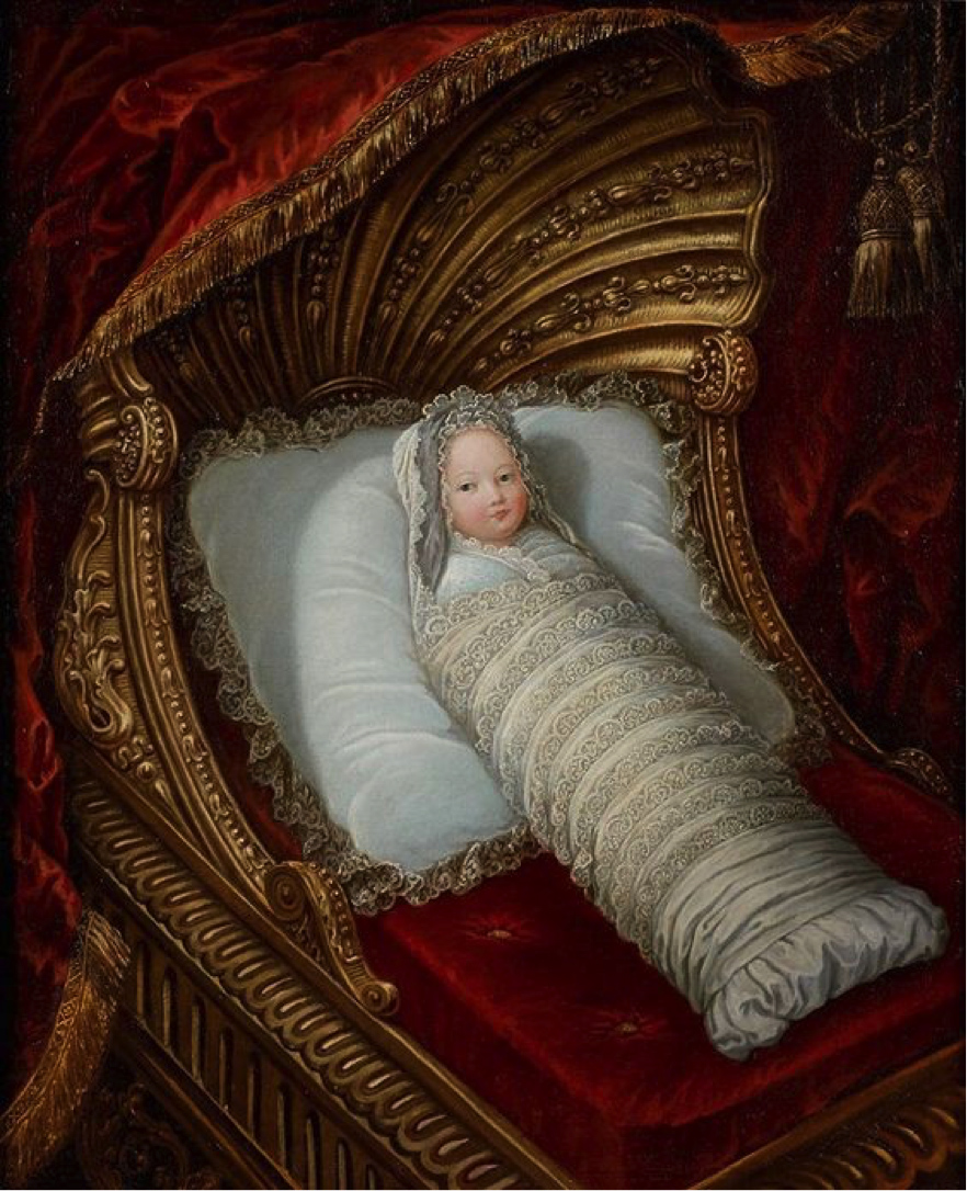 Anónimo. Niño fajado en una cuna. Hacia 1700.