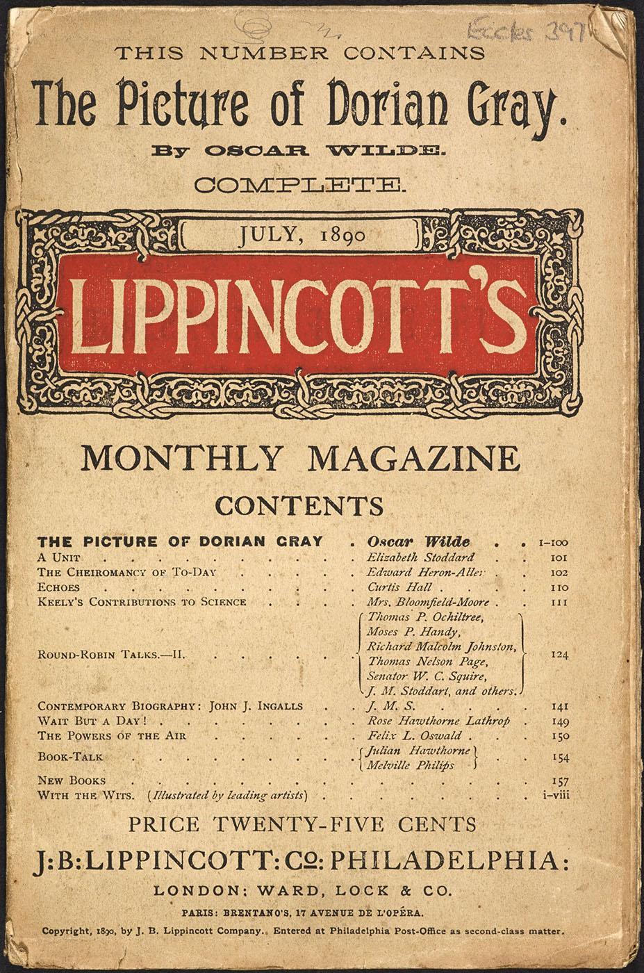 Oscar Wilde. El retrato de dorian Gray. Revista mensual de Lippincott. 1890.