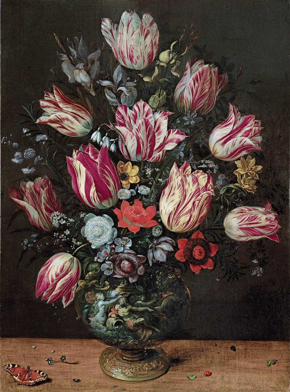 Andries Daniels y Frans Francken el joven. Jarrón con tulipanes. Hacia 1620-1625. Museo de Bellas Artes. Bilbao.