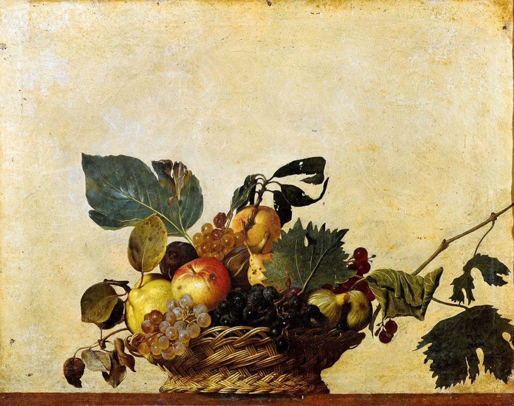 Caravaggio. Cesto de frutas. Hacia 1599. Pinacoteca Ambrosiana. Milán.