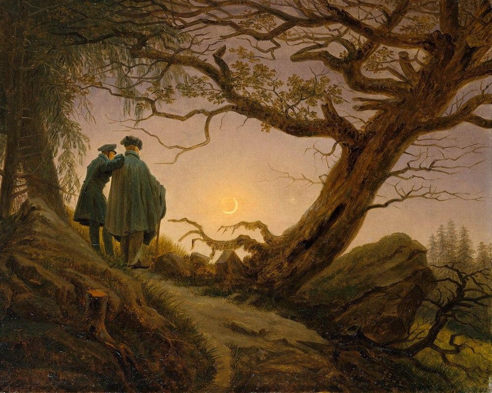 Caspar David Friedrich. Dos hombres contemplando la luna. Metropolitan Museum. Nueva York.