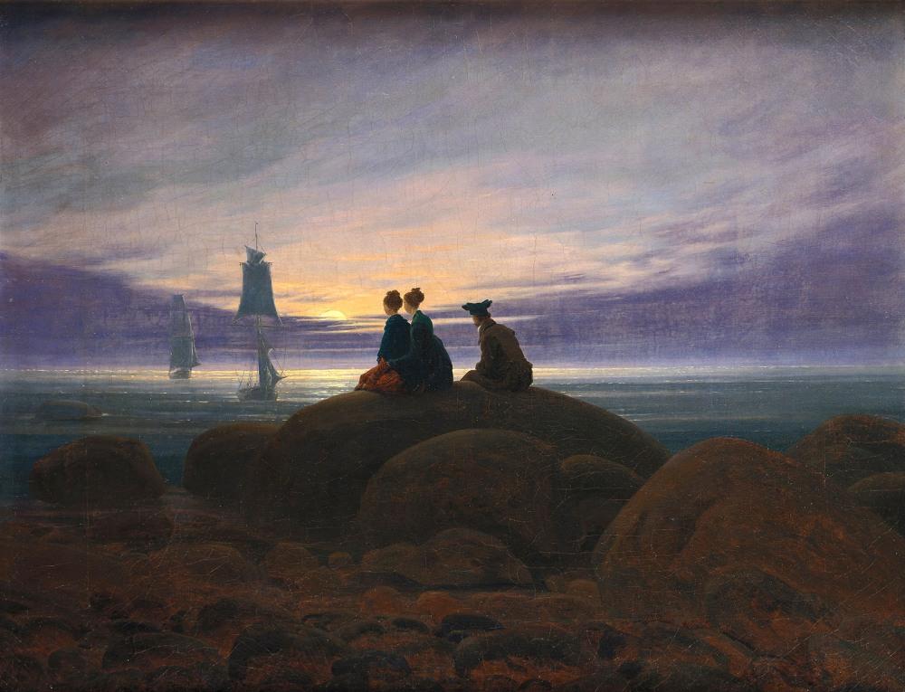 Caspar David Friedrich. La luna saliendo a la orilla del mar. 1822. Alte Nationalgalerie. Berlin.
