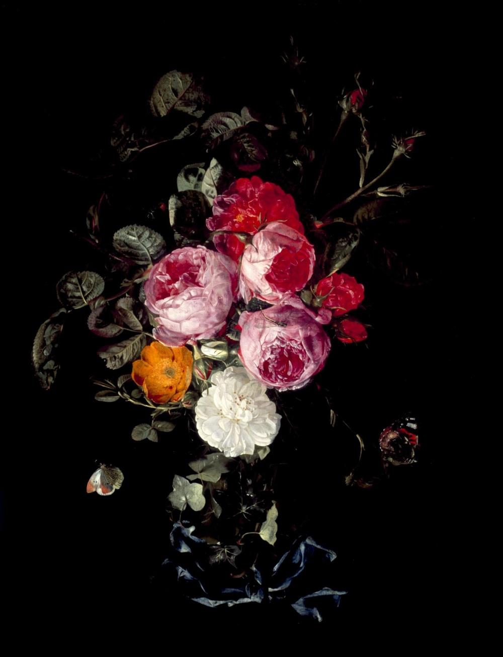 Christian Luycks. Un ramillete de rosas colgando de una cinta azul con mariposas e insectos. Mediados del siglo XVII. Museo de Bellas Artes. Houston.