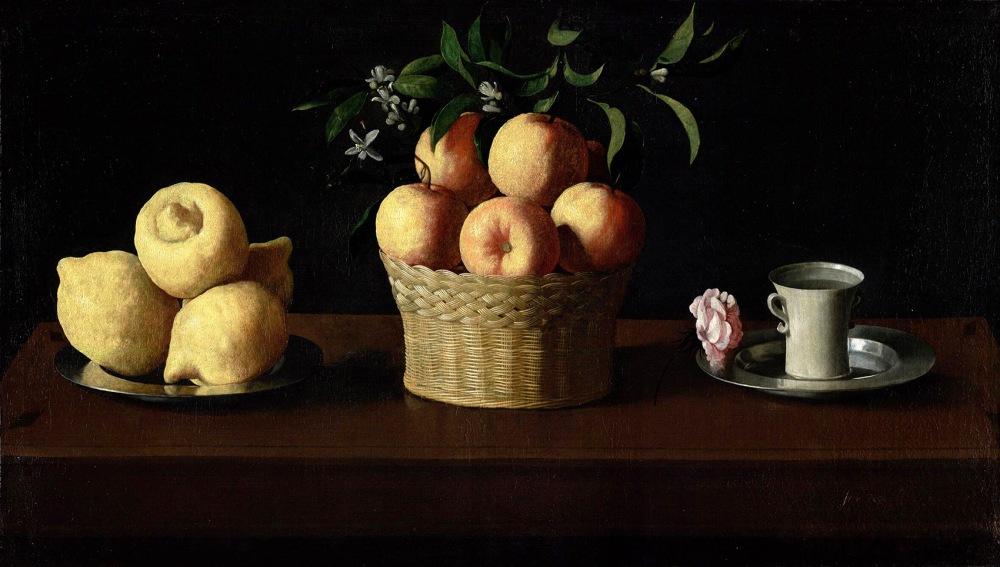 Francisco de Zurbarán. Bodegón con limones naranjas y una rosa. 1633. Norton Simon Museum. Pasadena. California.