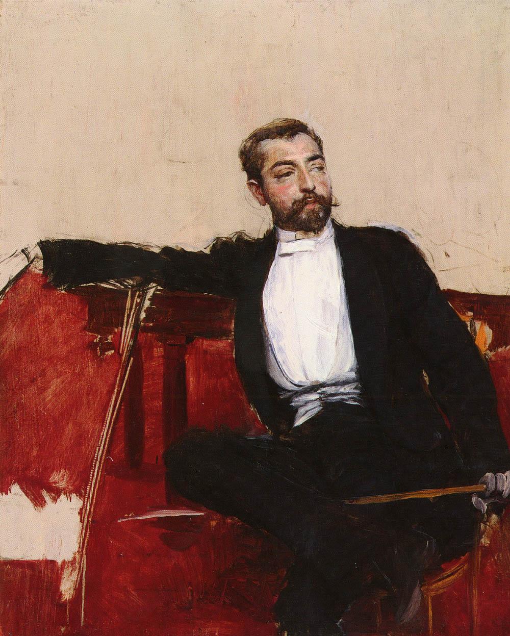 Giovanni Boldini. Retrato de John Singer Sargent. Hacia 1890.