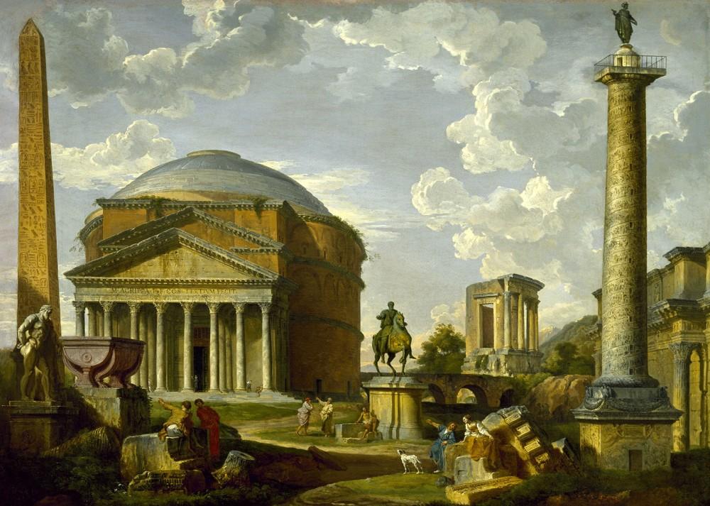 Giovanni Pauolo Panini. Vista de fantasía con el Panteón y otros monumentos de la antigua Roma. 1737. Museo de Bellas Artes. Houston.