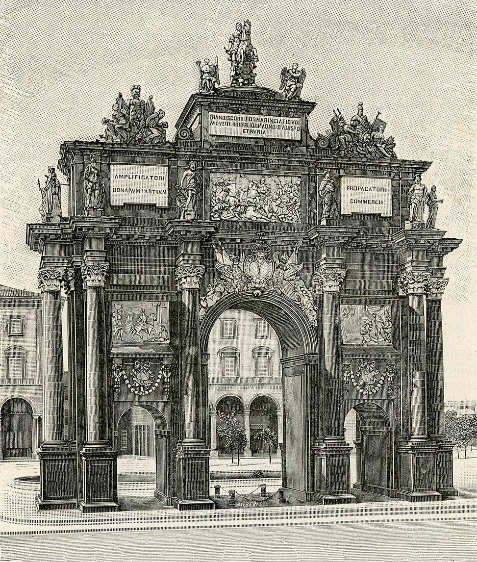 Giuseppe Barberis. La Patria geográfica de Italia. Provincia de Florencia. Arco triunfal de la Puerta de San Gallo. 1894.