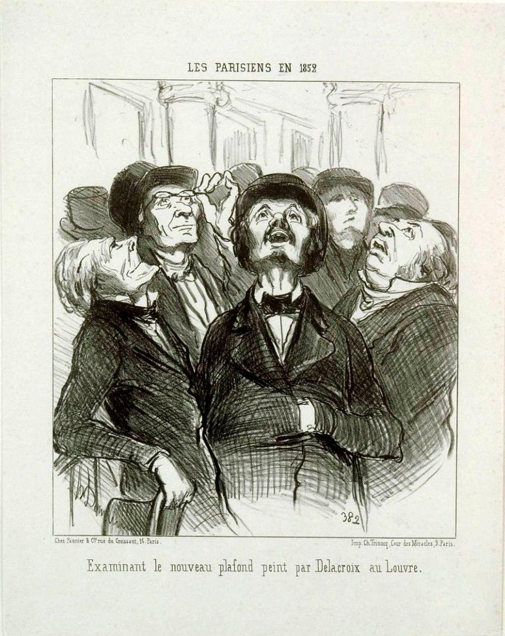 Honoré Daumier. Parisinos en 1852 examinando el nuevo techo pintado por Delacroix en el Louvre. Colección particular.
