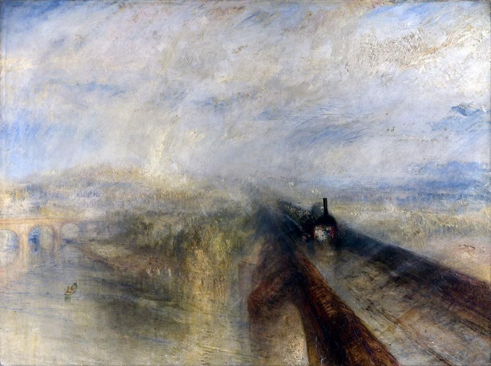 J.M.W. Turner. 1844. Lluvia, vapor y velocidad. The Great Western Railway. National Gallery. Londres.
